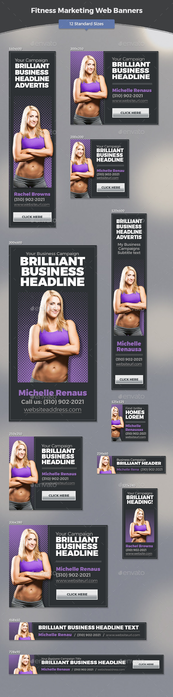 GraphicRiver Fitness Marketing Web Banners 11787459