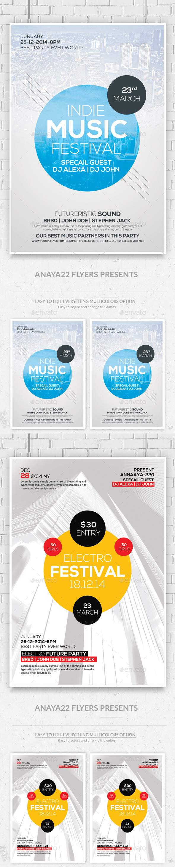 GraphicRiver Festival Concert Flyers Bundle 11787886