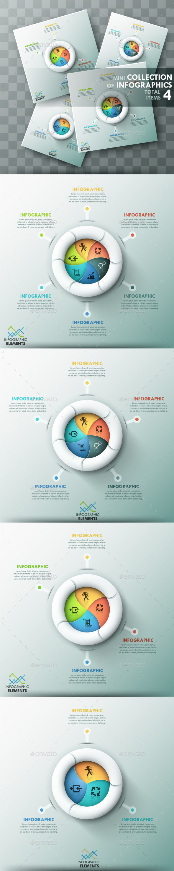 GraphicRiver Modern Infographic Spiral Charts 4 Items 11787978