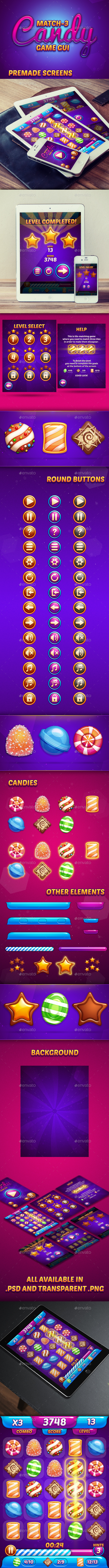 GraphicRiver Match-3 Candy Game GUI 11787993