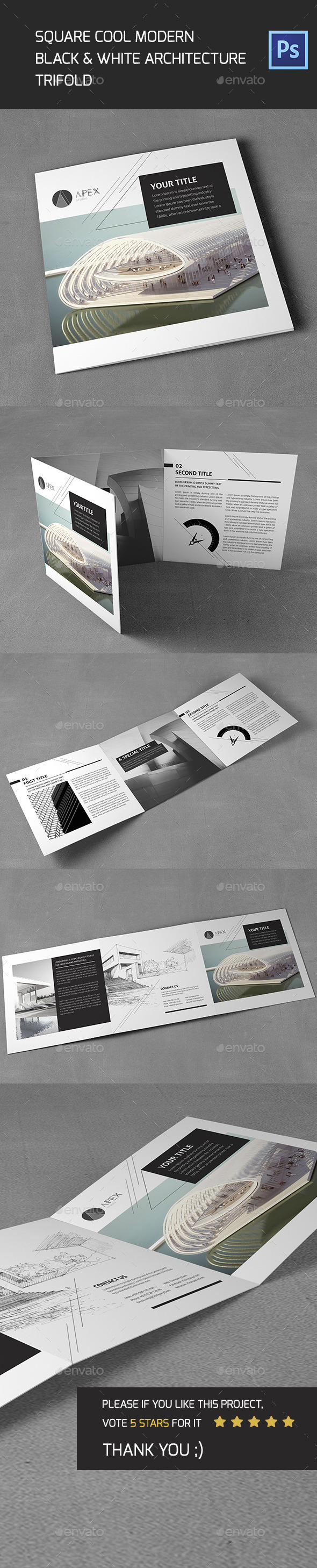 GraphicRiver Square Cool Modern Architecture Trifold 11788009