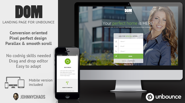 ThemeForest DOM Real Estate Unbounce Landing Page 11788101