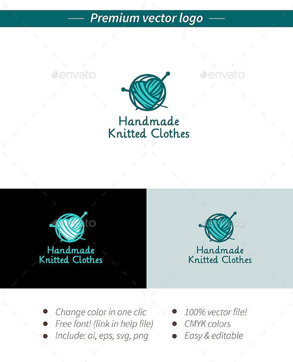 GraphicRiver Handmade knitted logo 11788326
