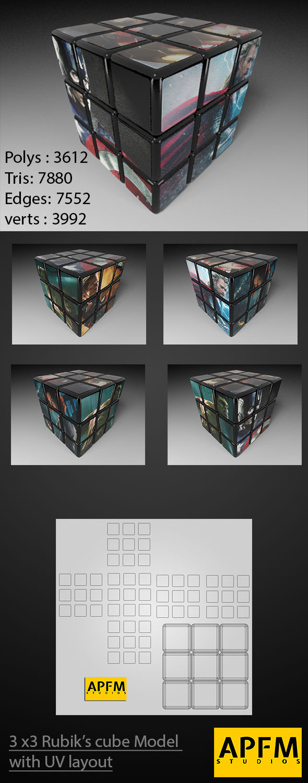 3DOcean 3D High Quality 3x3 Rubik s Cube Model with UV lay 11788830
