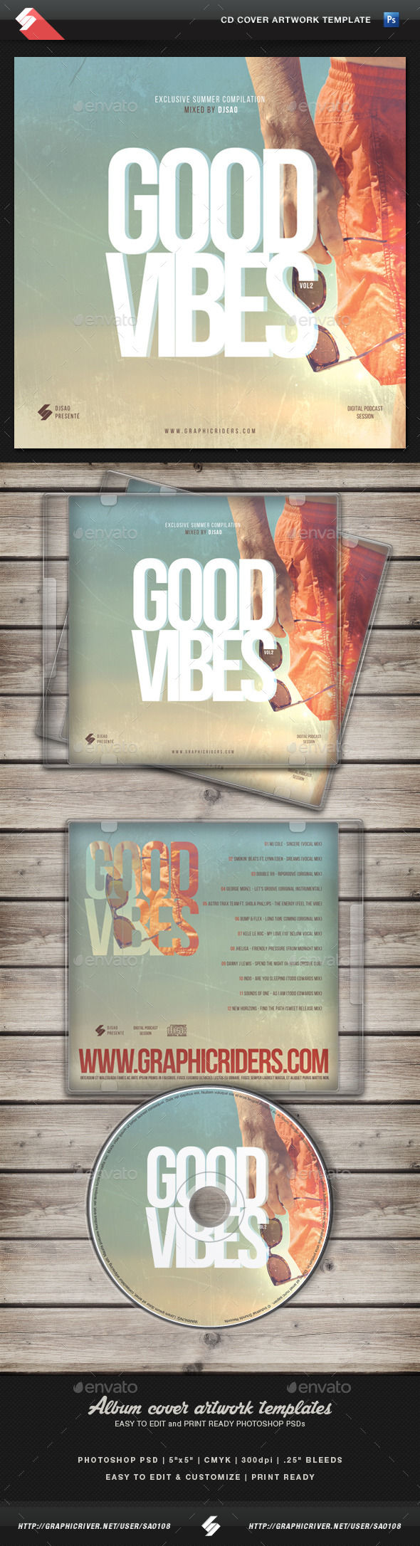 GraphicRiver Good Vibes vol.2 CD Cover Artwork Template 11788843