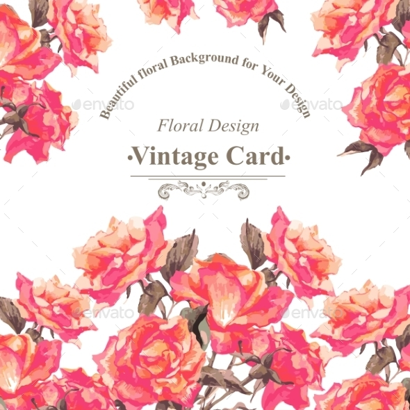 GraphicRiver Vintage Watercolor Greeting Card With Blooming Red 11788902