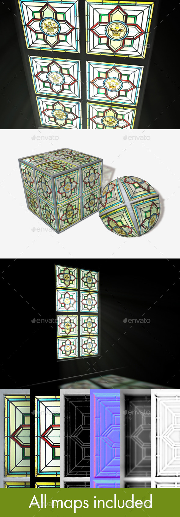 3DOcean British Stained Glass Window Seamless Texture 11788911