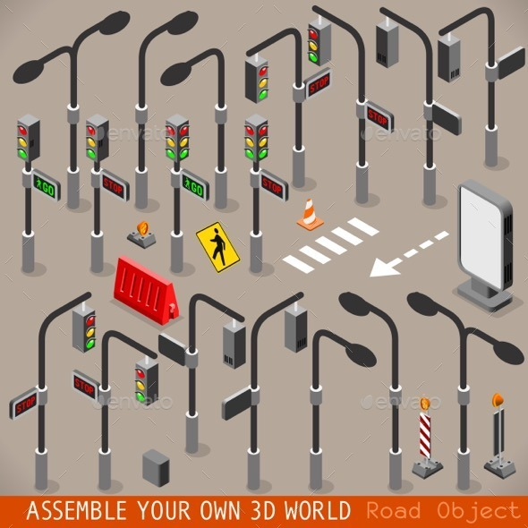 GraphicRiver Urban Traffic Management Set Isometric 11788952