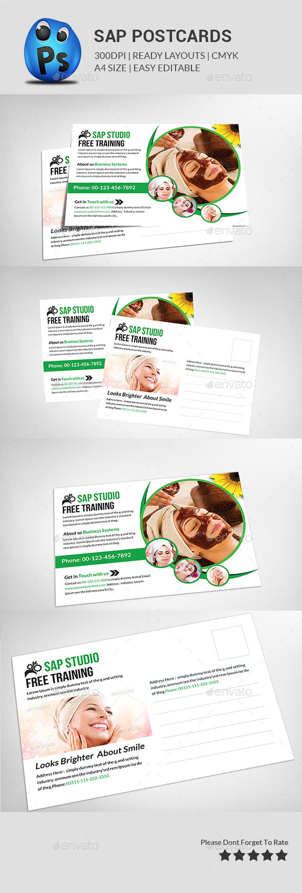 GraphicRiver Spa Beauty Post Card Templates 11789262