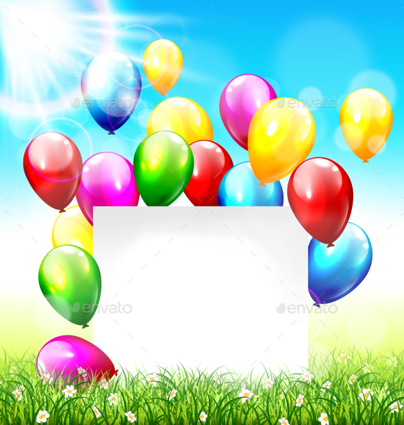 GraphicRiver Celebration Background with Paper Frame Balloons 11789426