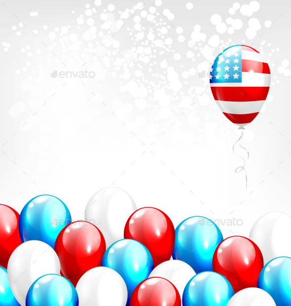 GraphicRiver Balloons in National USA Colors on Gray Background 11789456