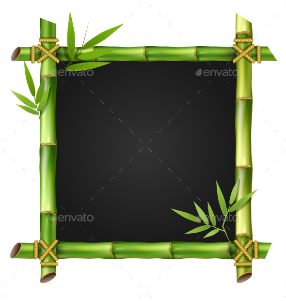 GraphicRiver Bamboo Grass Frame with Leafs Isolated on White 11789576