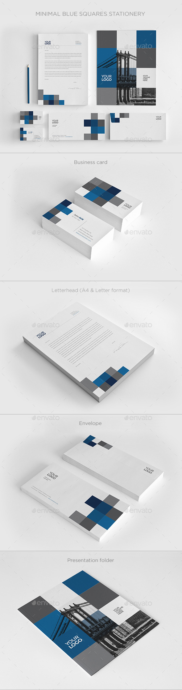 GraphicRiver Minimal Blue Squares Stationery 11790162