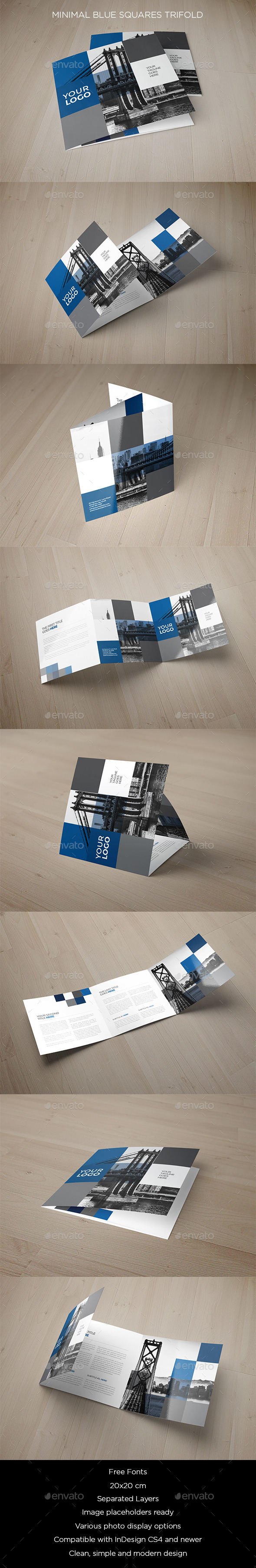 GraphicRiver Minimal Blue Squares Trifold 11790182