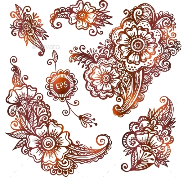 GraphicRiver Hand-drawn Ornaments Set In Indian Mehndi Style 11790426