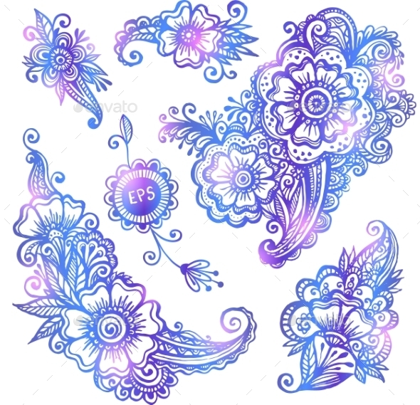 GraphicRiver Blue Hand-drawn Vector Flowers Set 11790439