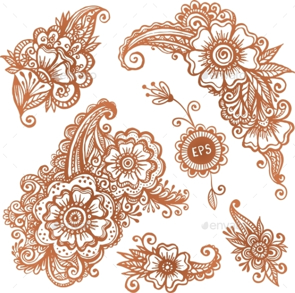 GraphicRiver Hand-drawn Ornaments Set In Indian Mehndi Style 11790494