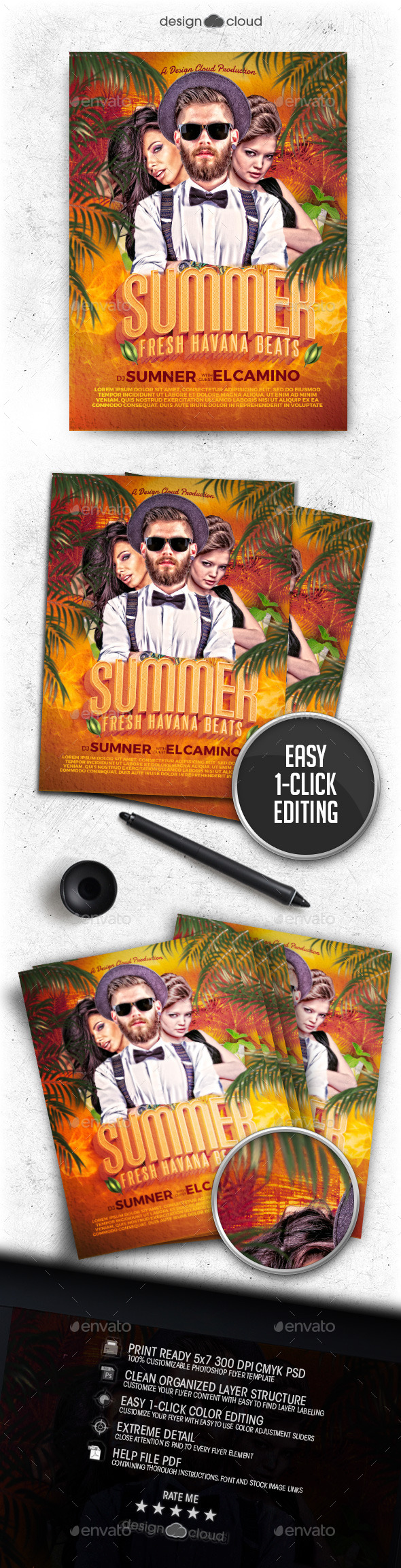 GraphicRiver Summer DJ Fresh Havana Beats Flyer Template 11790770