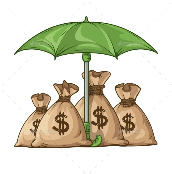 GraphicRiver Umbrella Protecting Sacks with Money Currency Euro 11790960