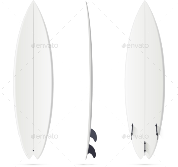 GraphicRiver White Vector Surfing Board Template Hybrid 11791593