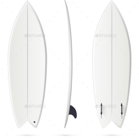 GraphicRiver White Vector Surfing Board Template Fish 11791626
