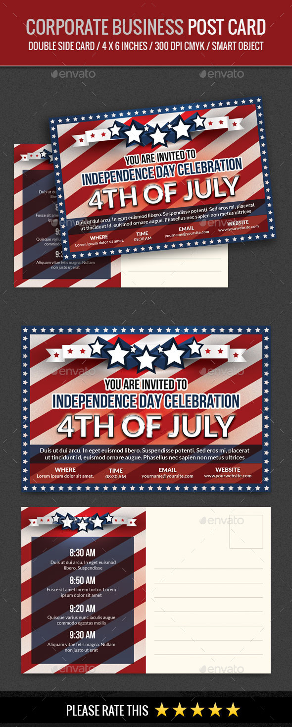 GraphicRiver USA Independence Day 4th of July Post Card 11792874