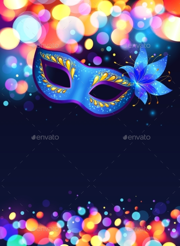 GraphicRiver Blue Carnival Mask Vector Poster Background 11793797