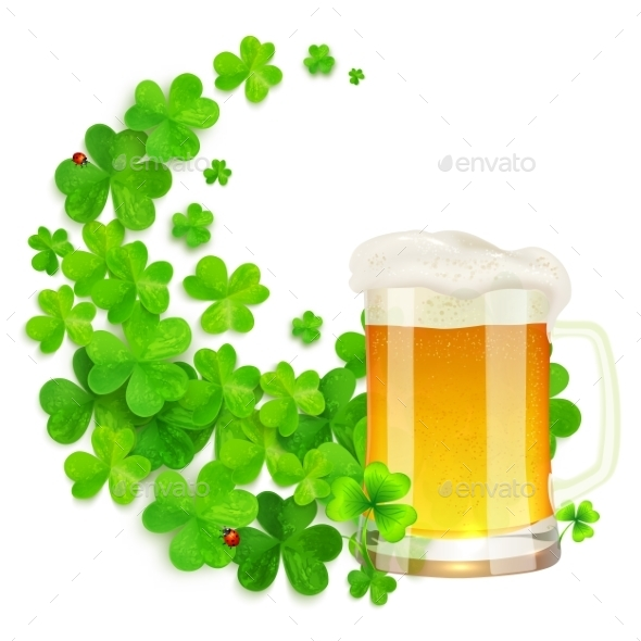 GraphicRiver Mug Of Light Beer On Green Clovers Swirl 11793802