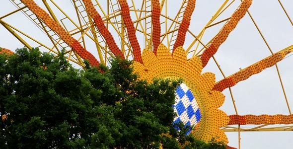 Ferris Wheel in Carousel Amusement Park and Tree 1