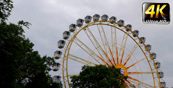 Ferris Wheel in Carousel Amusement Park and Tree 3