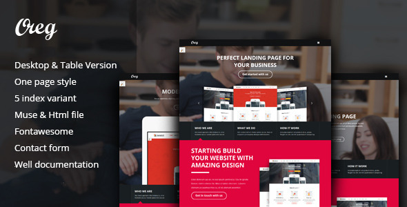 ThemeForest Oreg Modern and Multi-purpose Landing Page Muse Template 11796604