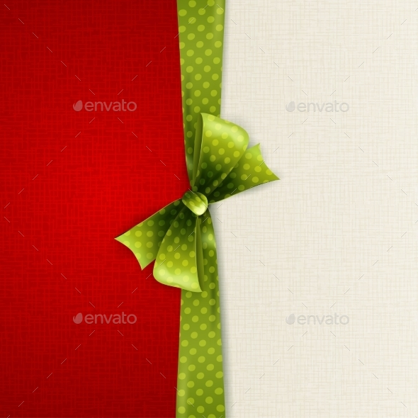 GraphicRiver Holiday Background with Green Polka Dots Bow 11796891