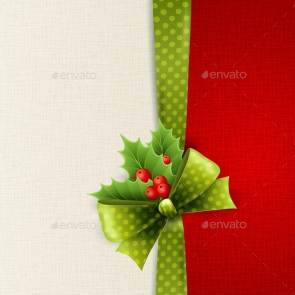 GraphicRiver Christmas Card with Bow and Holly 11796939