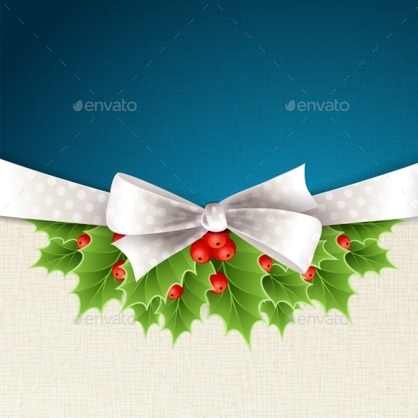 GraphicRiver Christmas Background with Ribbon and Holly 11796950