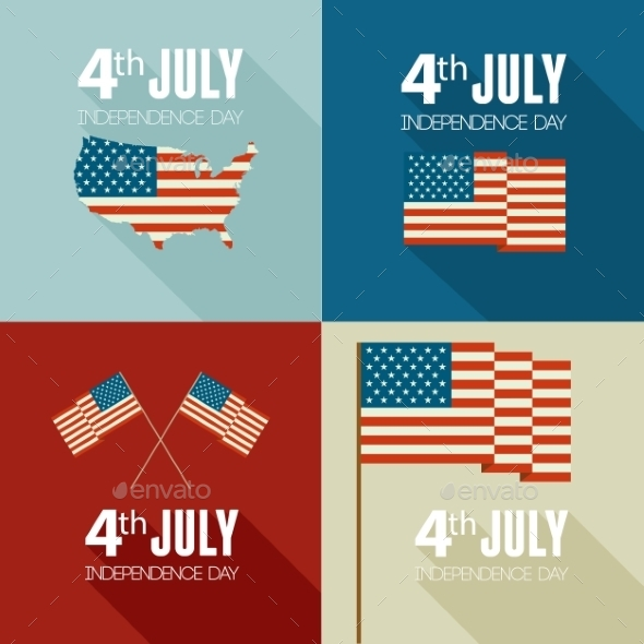 GraphicRiver American Independence Day Flat Design 11796981