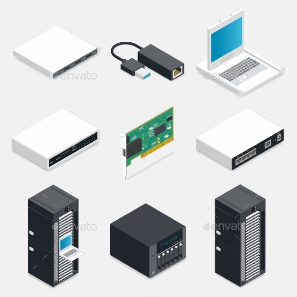 GraphicRiver Networking Isometric Detailed Icons Set 11797006