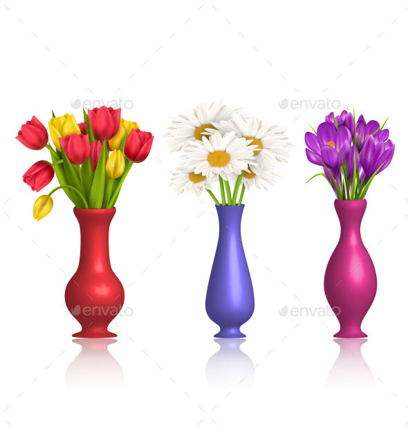 GraphicRiver Tulips Chamomiles and Crocuses in Vases on White 11797409
