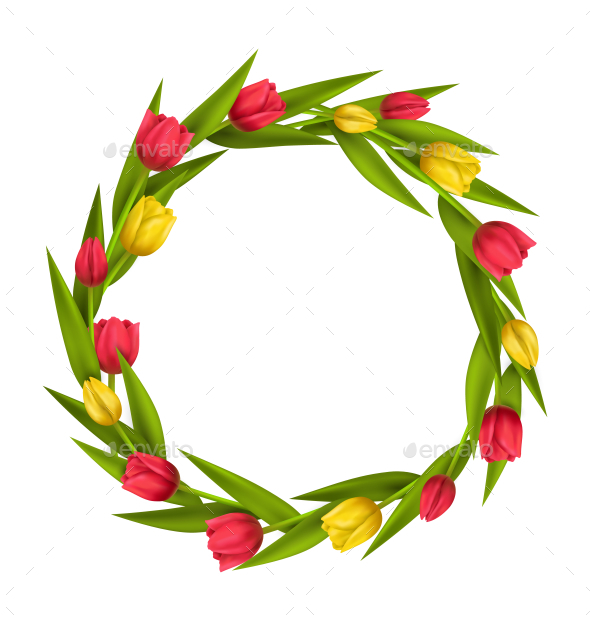 GraphicRiver Circle Frame with Red and Yellow Tulips Flowers 11797444