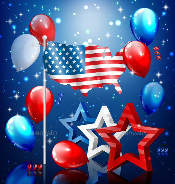 GraphicRiver USA Nation Flag Map Stars and Balloons 11797575