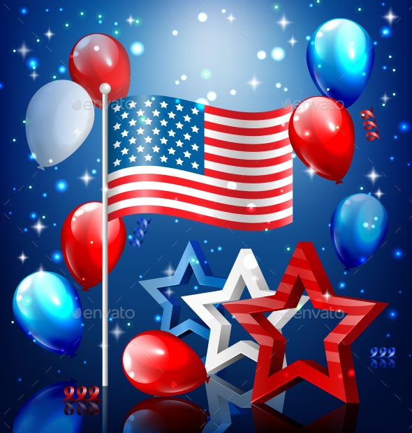 GraphicRiver USA Nation Flag with Confetti and Balloons 11797593