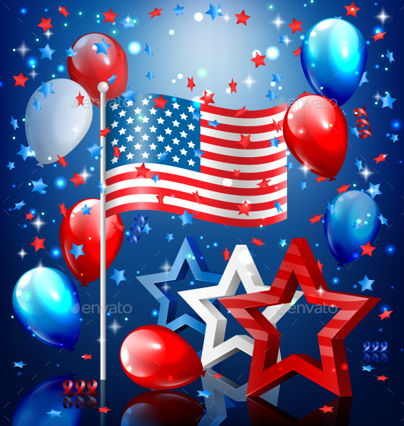 GraphicRiver USA Nation Flag with Stars and Balloons 11797602