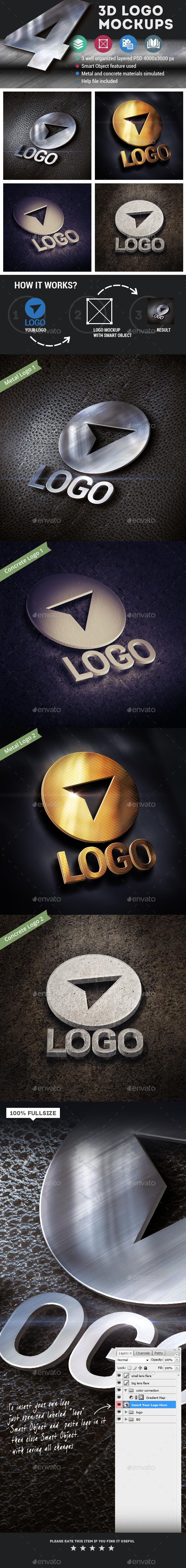 GraphicRiver 4 3D Logo Mockups 11798239