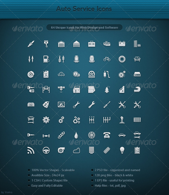 64 Unique Auto Service Icons - Web Icons
