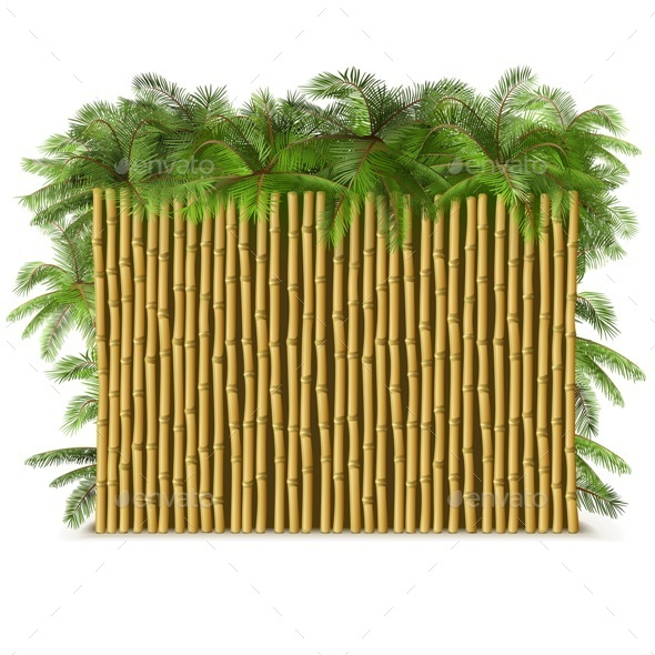 GraphicRiver Bamboo Fence with Palm 11799889