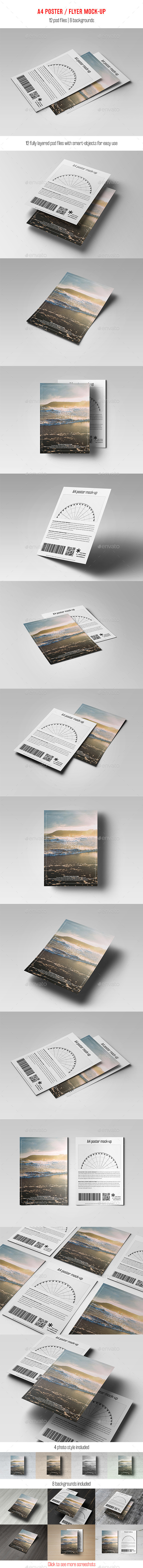 GraphicRiver A4 Poster Flyer Mock-Up 11800302
