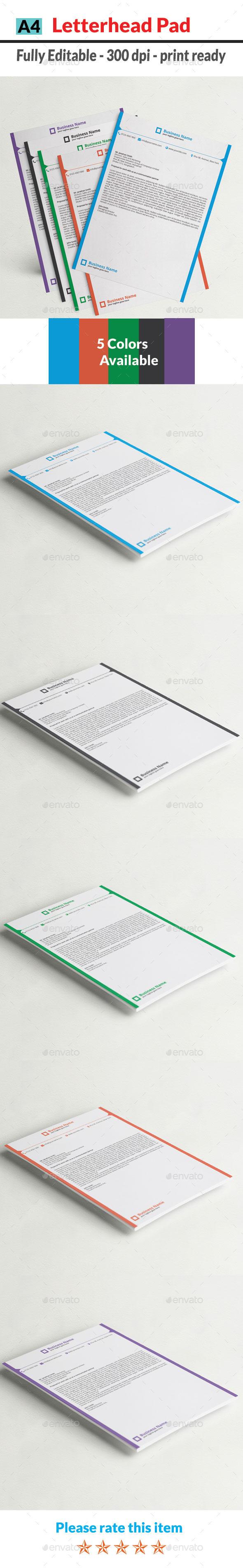 GraphicRiver Letterhead Pad 11800654