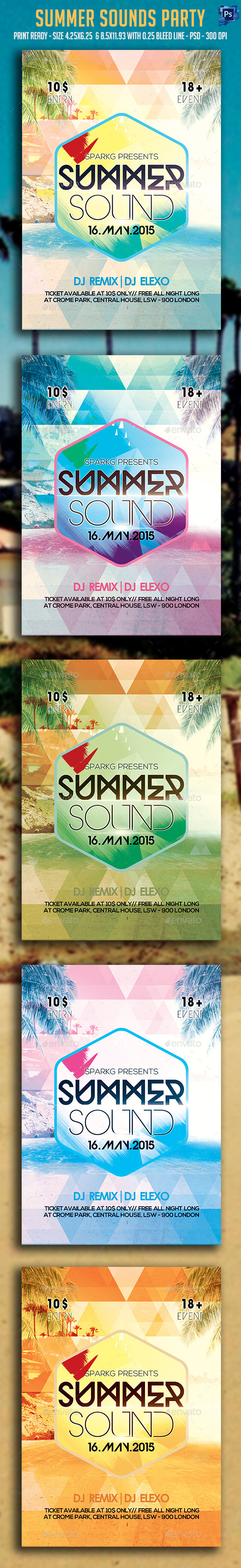 GraphicRiver Summer Sounds Party Flyer 11800906