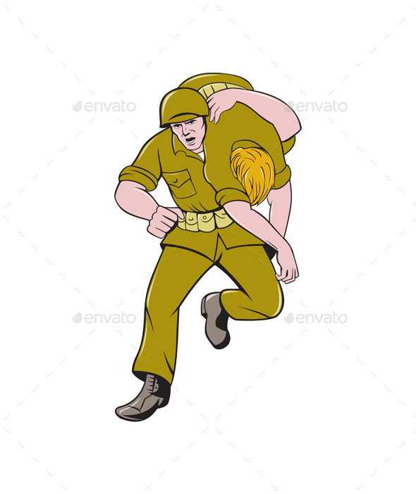 GraphicRiver World War Two American Soldier Carry Wounded 11801990