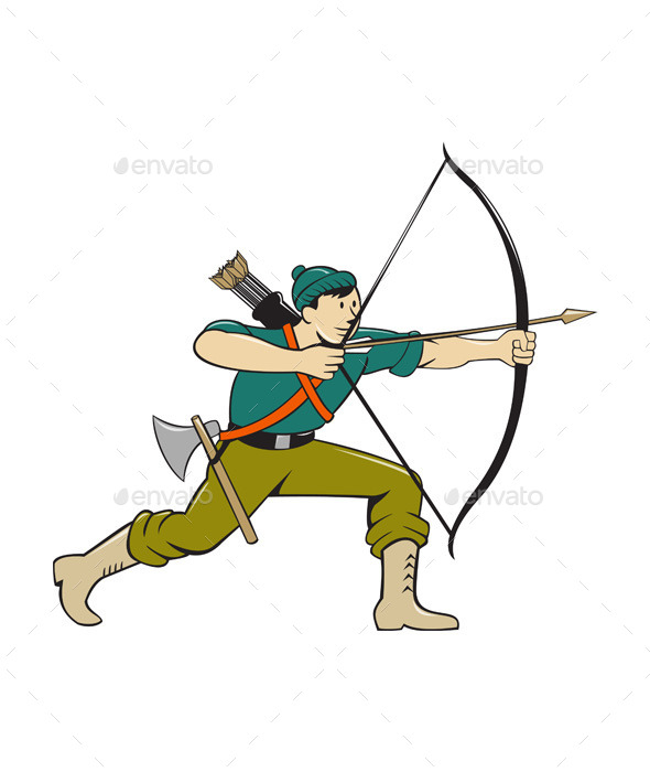 GraphicRiver Archer Aiming Long Bow Arrow Cartoon 11802004