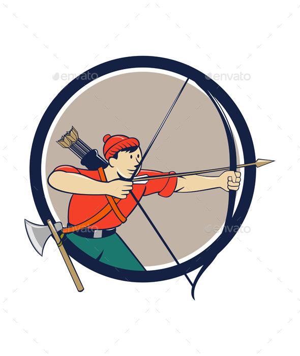 GraphicRiver Archer Aiming Long Bow Arrow Cartoon Circle 11802005